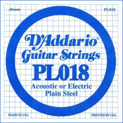 ".46MM ""B, G, A"" ACOUSTIC OR ELECTRIC GUITAR SINGLE STRING, PLAIN STEEL"