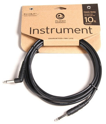 "PLANET WAVES ""CLASSIC"" GUITAR CABLE, 10' w/ 1x RIGHT-ANGLE PLUG"