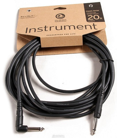 "PLANET WAVES ""CLASSIC"" GUITAR CABLE, 20' w/ 1x RIGHT-ANGLE PLUG"