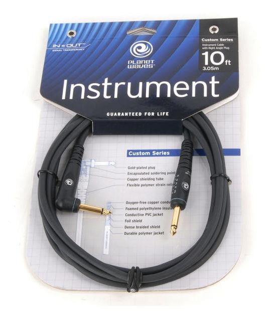 "PLANET WAVES ""CUSTOM"" GUITAR CABLE, 10', DOUBLE INSULATED w/ GOLD PLATED PLUGS"