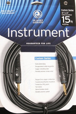 "PLANET WAVES ""CUSTOM"" GUITAR CABLE, 15', DOUBLE INSULATED w/ GOLD PLATED PLUGS"