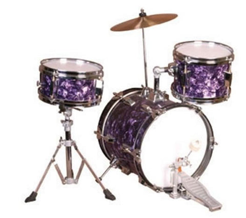 RB JUNIOR DRUM SET, 3 PIECE W/ CYMBAL, PURPLE FINISH