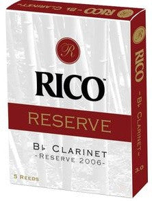 RICO RESERVE Bb CLARINET REEDS, BOX OF 5