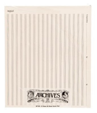 ARCHIVES 18 STAVE SCORE PAD, 50 SHEETS