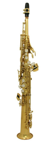 "SELMER ""USA"" Bb SOPRANO SAX, 1 PC. BODY WITH STRAIGHT NECK, GOLD LACQUER FINISH, WOODSHELL CASE"