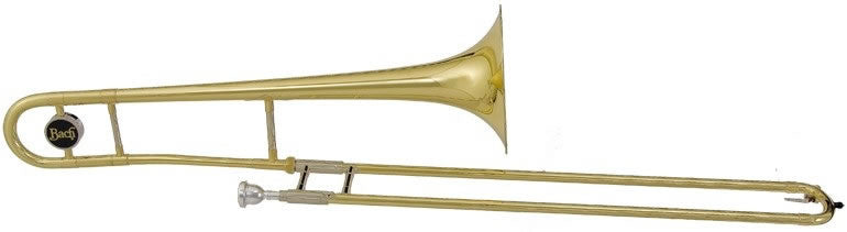 "BACH ""USA"" TROMBONE, .500"" BORE, 8"" BELL, CLEAR LACQUER FINISH, ABS CASE"