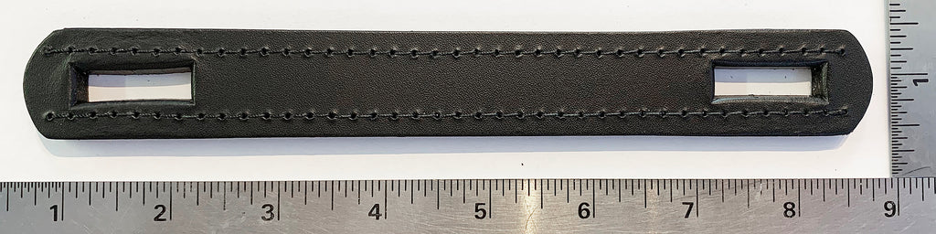 "9"" BLACK LEATHER ""STRAP"" CASE HANDLE, w/ 1"" DIE-CUT HOLES"