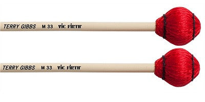 "VIC FIRTH ""TERRY GIBBS"" MALLETS, HARD RED CORD, RATTAN SHAFT"