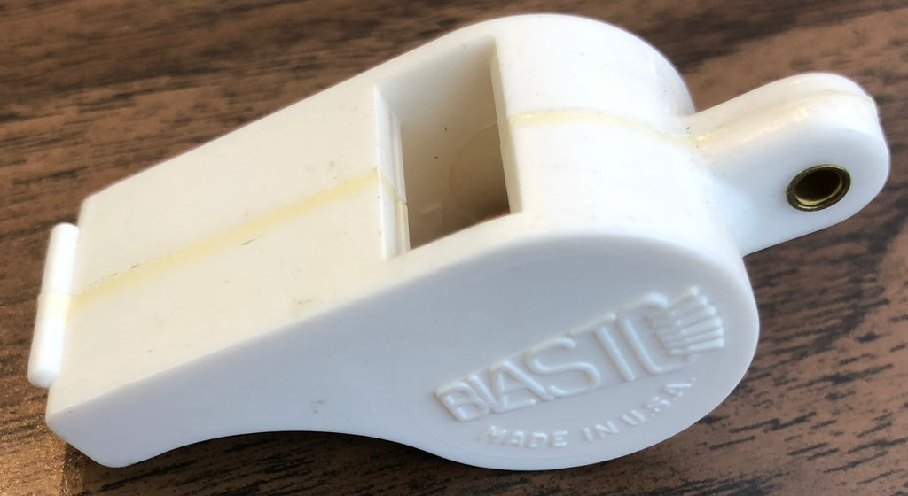 "TROPHY ""BLASTO"" DRUM MAJOR WHISTLE, WHITE PLASTIC"