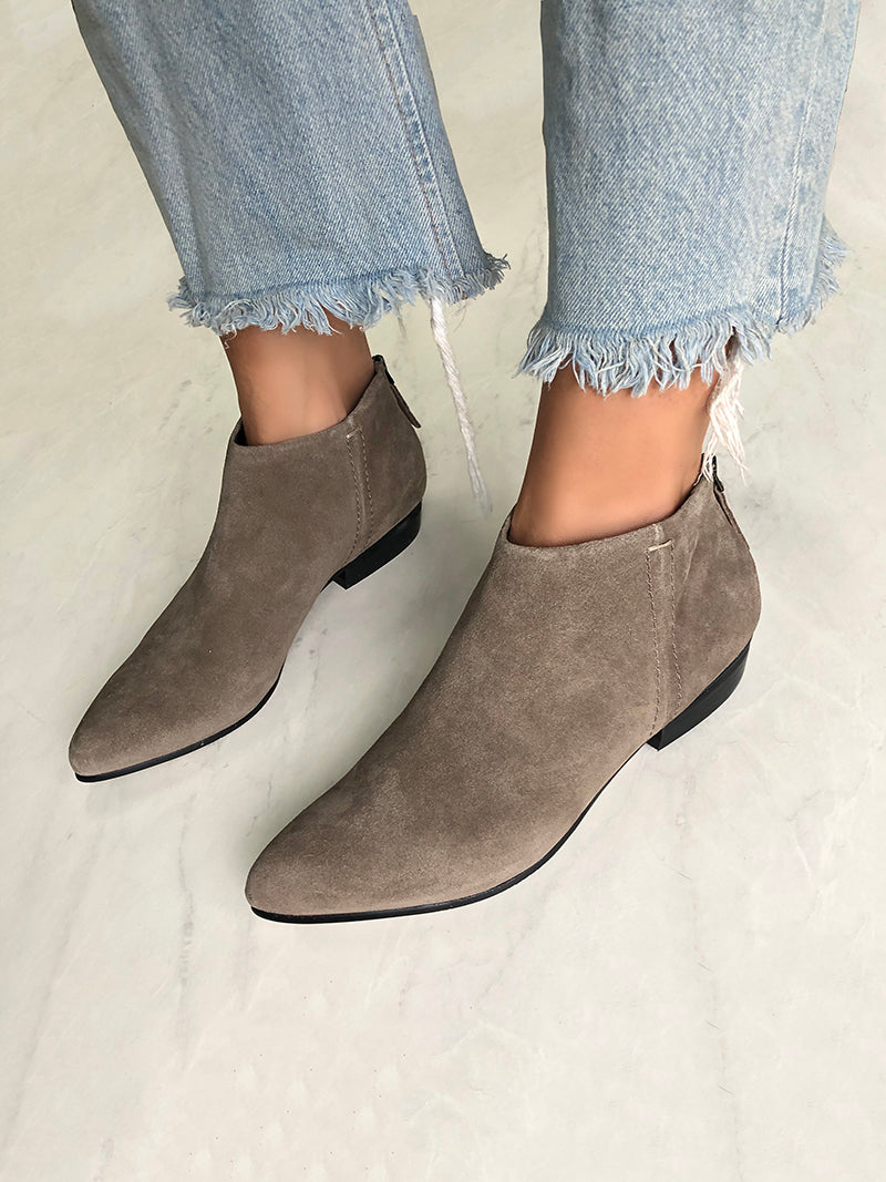 minimalist low cut ankle boot in suede leather