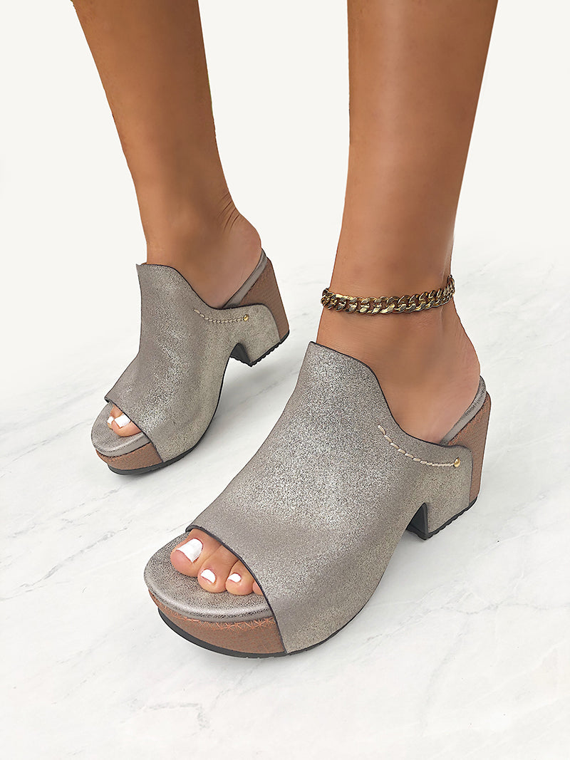 womens silver wedges