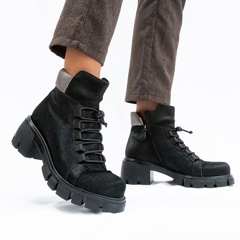 MILITANT in BLACK Ankle Boots
