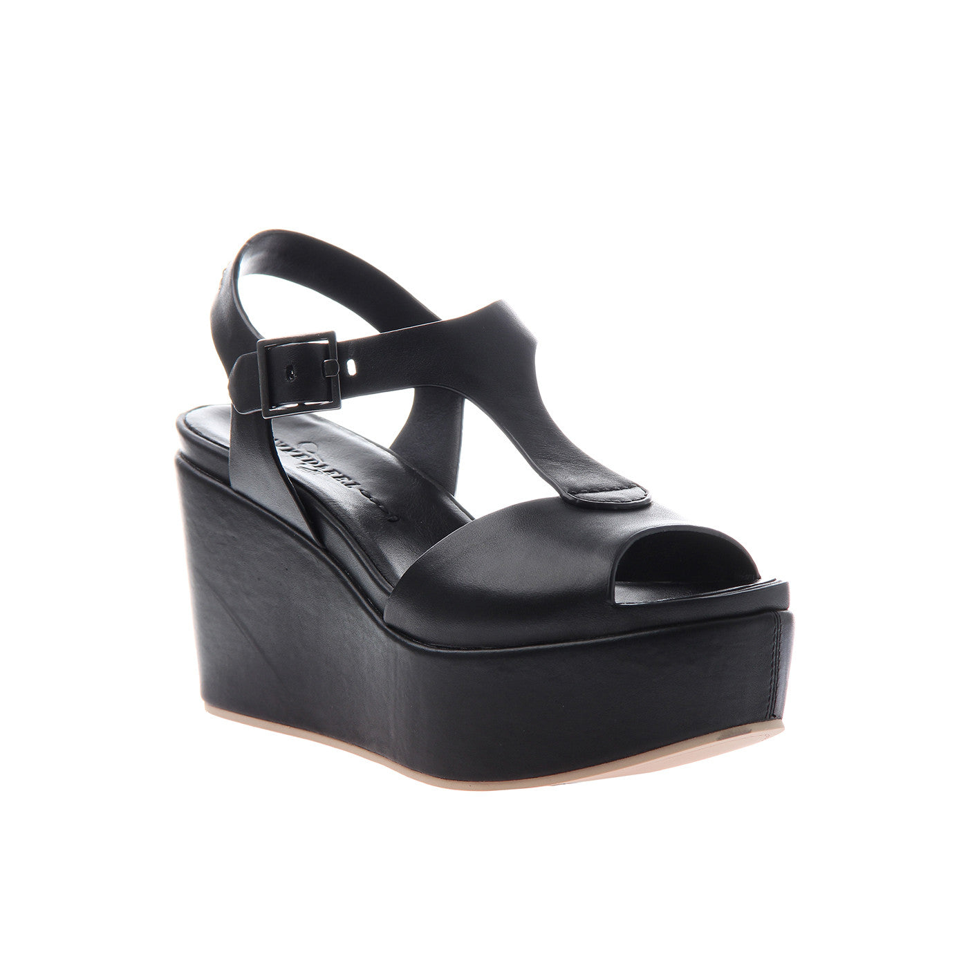 Naked Feet, Bardii, Black, Sleek platform wedge with t-strap and ankle fasten