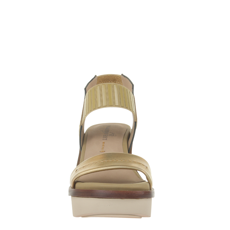 Womens heel sandal basalt in Gold front