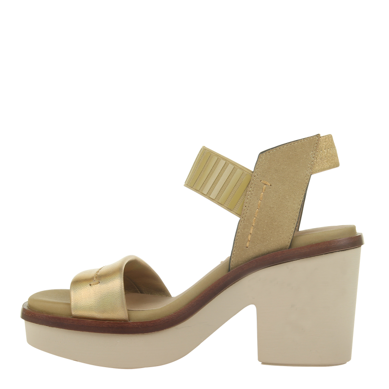 Womens heel sandal basalt in Gold left