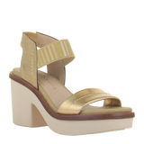 Womens heel sandal basalt in Gold