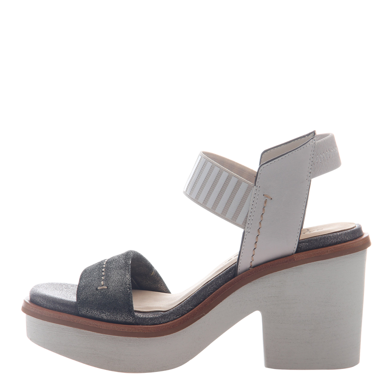 Womens heel sandal basalt in grey silver left