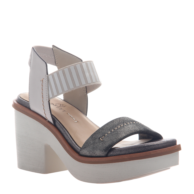 Womens heel sandal basalt in grey silver