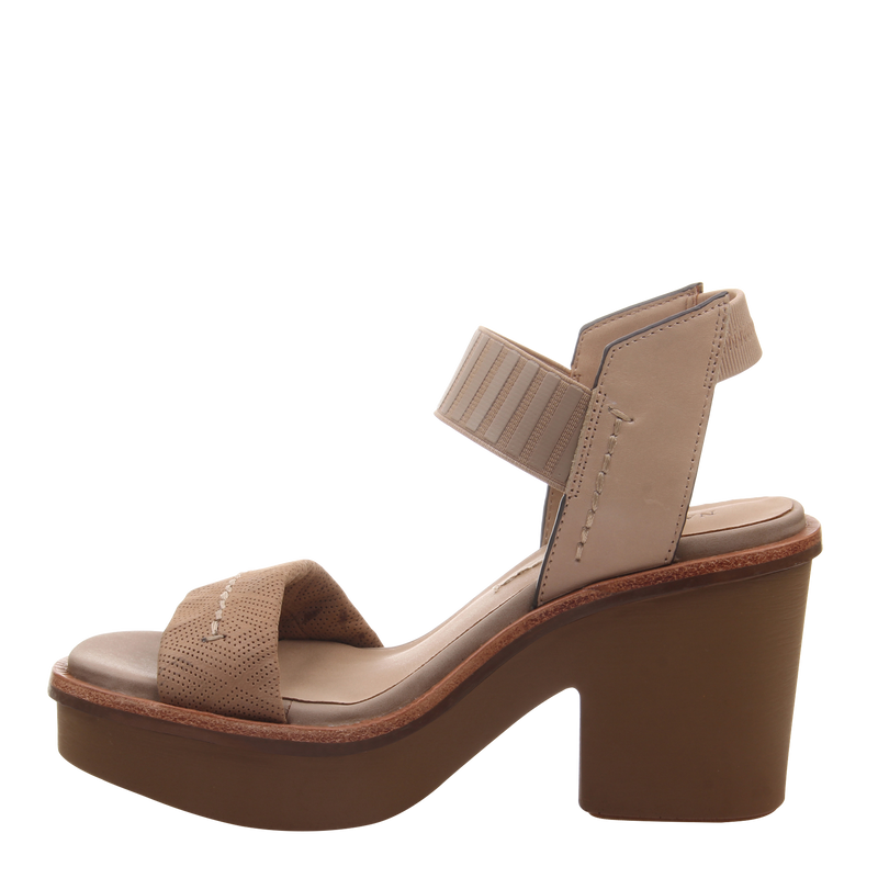 Womens heel sandal basalt in light taupe left
