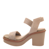 Womens heeled sandal Basalt in new taupe left