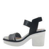 Womens heeled sandal Basalt in zebra print left