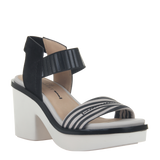 Womens heeled sandal Basalt in zebra print