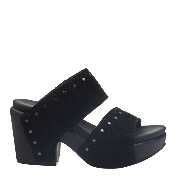 Womens heeled sandal beslow in black right