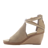 Womens wedge Crux in New Taupe left