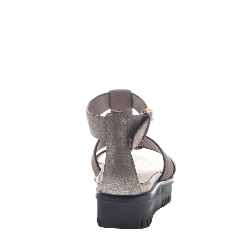 Womens sandal Hadar in Grey Pewter back