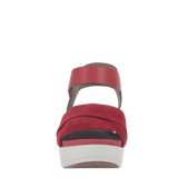 Womens sandal in koda in deep red front