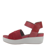 Womens sandal in koda in deep red left