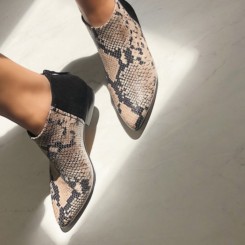 CHI in SNAKE PRINT Ankle Boots