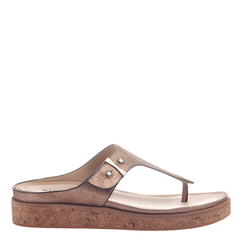 Hadidd flat women's sandal in copper side view
