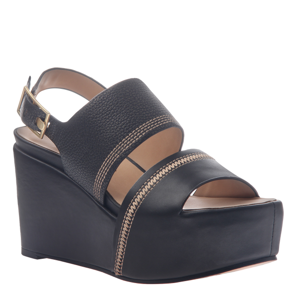 Naked Feet Mallow women's platform wedge in black