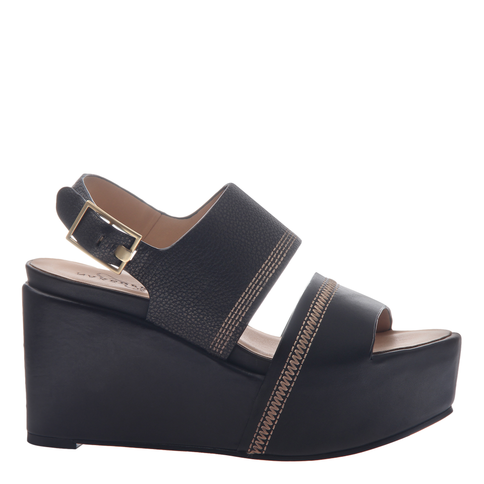 Naked Feet Mallow women's platform wedge in black side view