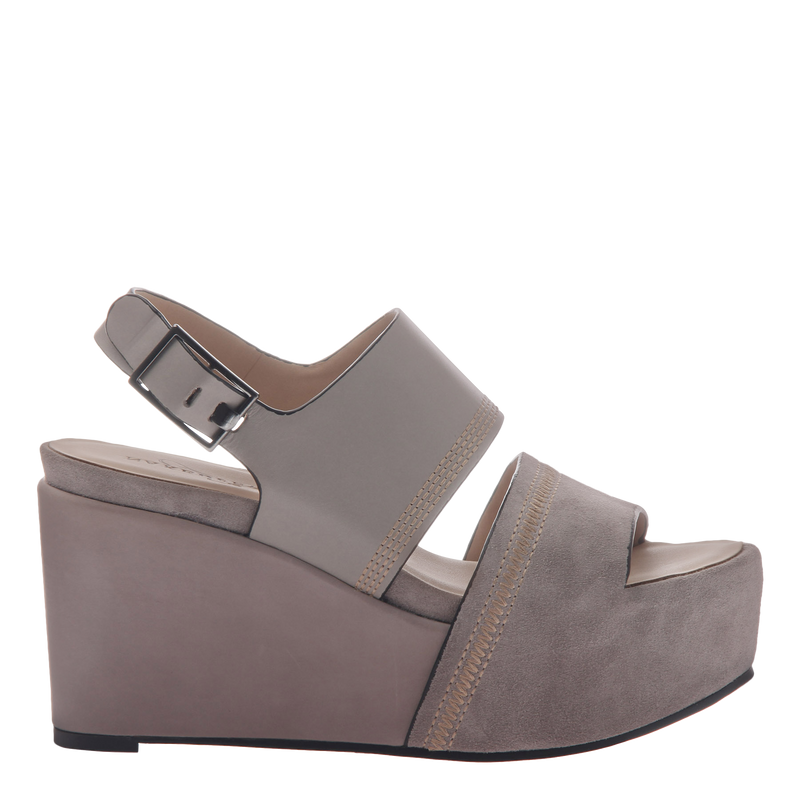 Naked Feet Mallow women's platform wedge in grey side view