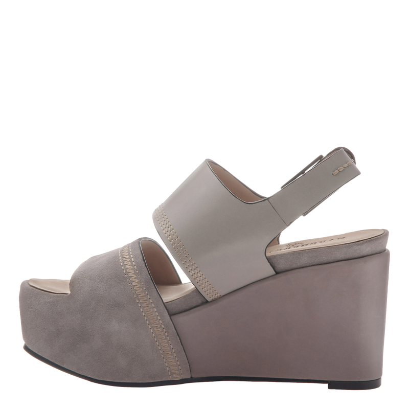 Naked Feet Mallow women's platform wedge in grey inside view