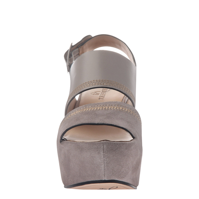 Naked Feet Mallow women's platform wedge in grey front view