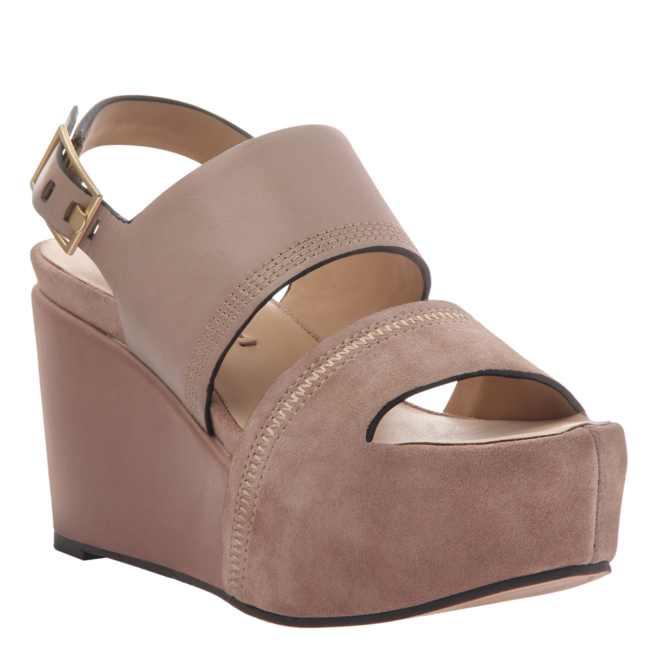 Naked Feet Mallow women's platform wedge in Mid taupe