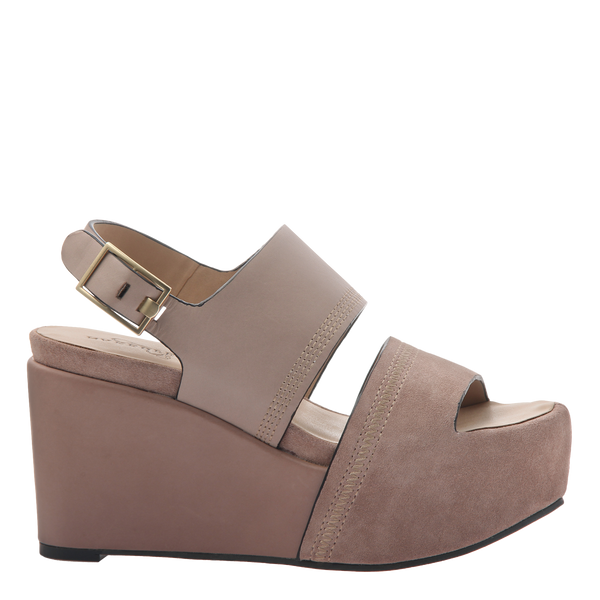 Naked Feet Mallow women's platform wedge in Mid taupe side view