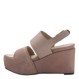 Naked Feet Mallow women's platform wedge in Mid taupe inside view