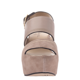 Naked Feet Mallow women's platform wedge in Mid taupe front view