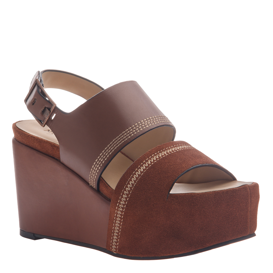 Naked Feet Mallow women's platform wedge in velvet brown