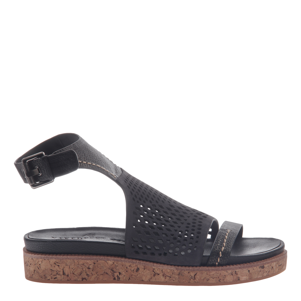 Naked Feet women's sandal Aries in black side view