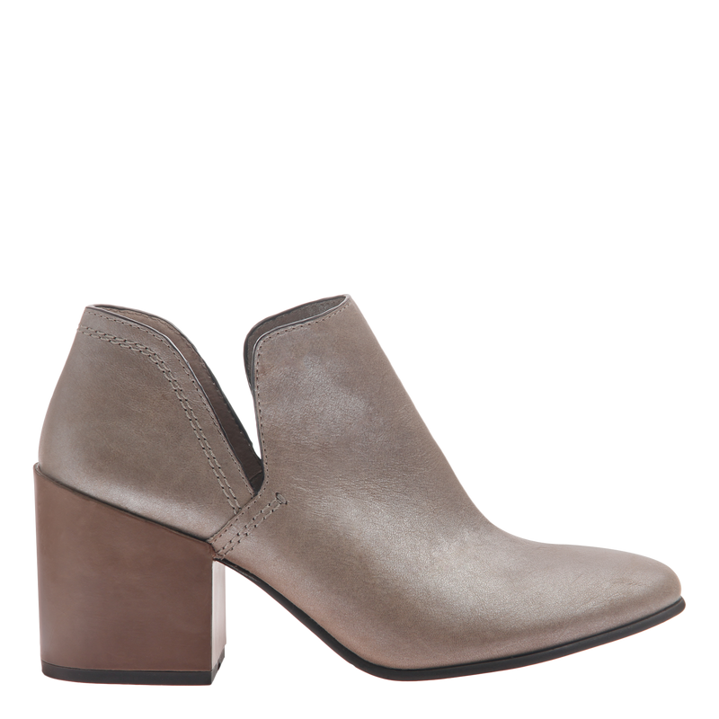 Naked Feet women's heeled ankle boot Hedley in cloudburst side view