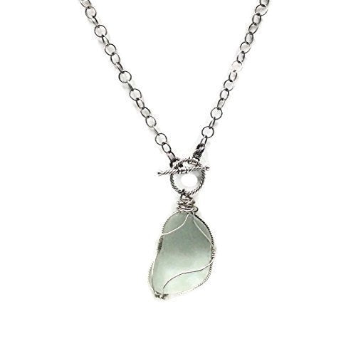 Oxidised Sterling Silver Sea Glass Necklace
