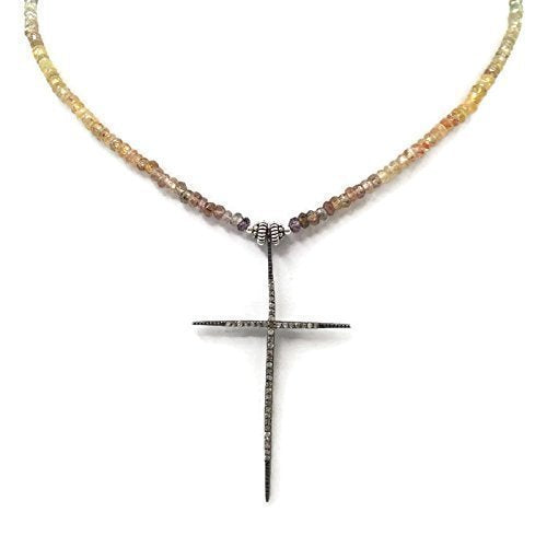 Antique Diamond Beaded Cross Necklace