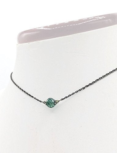 *2.0 Carat Antique Aqua Diamond Necklace