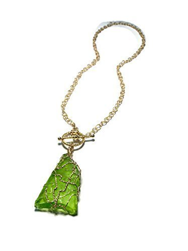 Lime Green Sea Glass Necklace