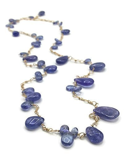 Tanzanite Gemstone Cluster Necklace